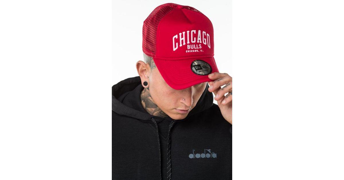 KTZ Chicago Bulls Chain Stitch Trucker Cap in Red for Men - Lyst 51874e1ebcd