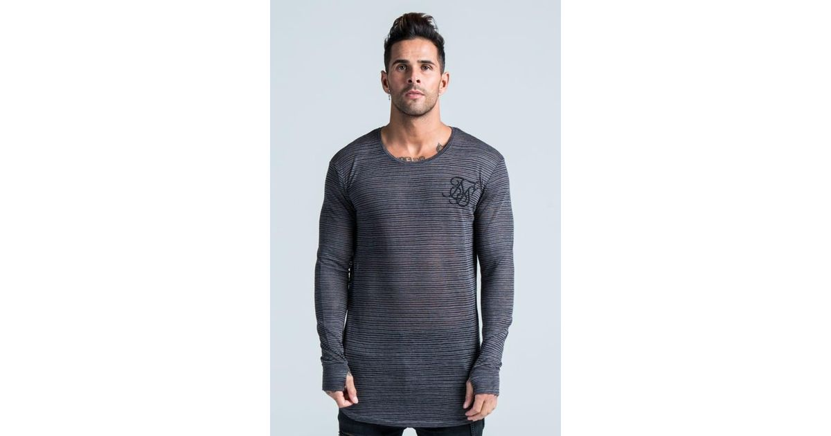 72b66af78d Lyst - SIKSILK Ls Burnout Stripe Top in Black for Men