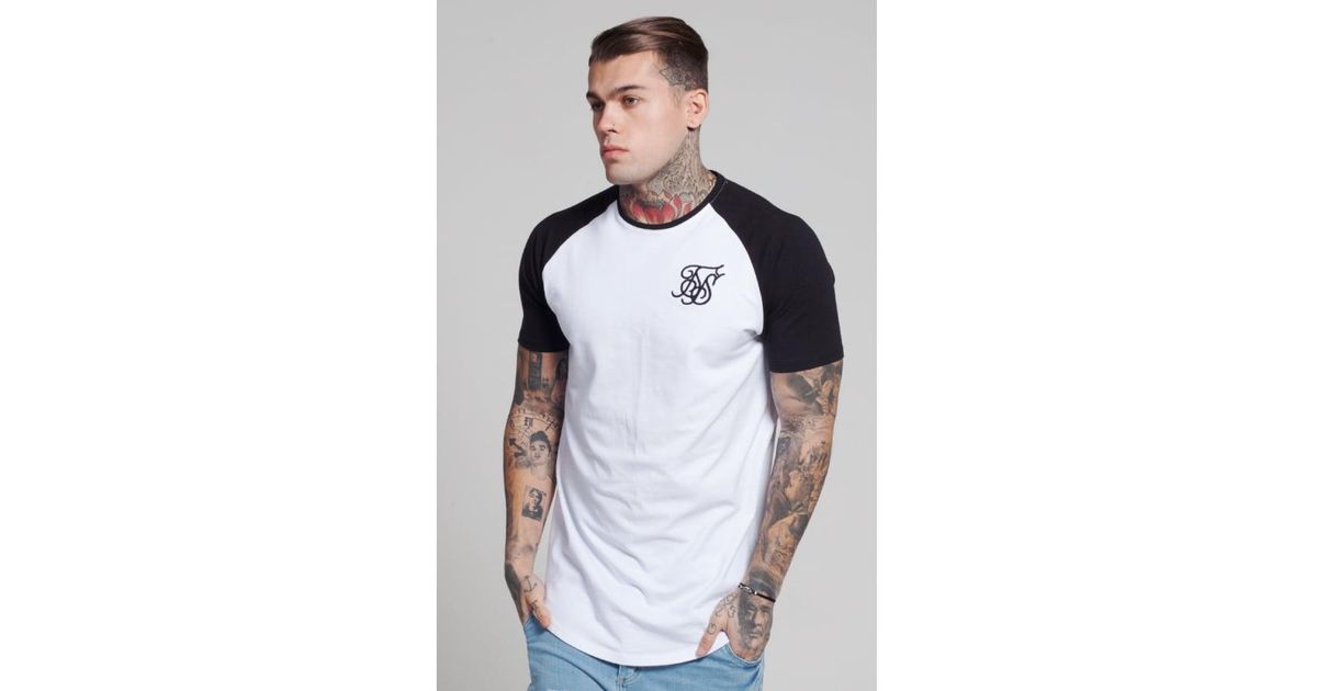 Siksilk Raglan Curved Hem Tee in White for Men - Lyst 1c730140127