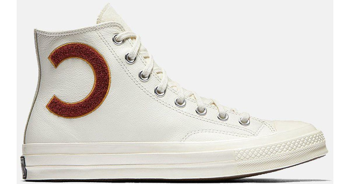 a61463b6b6d5 Converse 70s Check Taylor Hi Wordmark (leather) in White for Men - Lyst