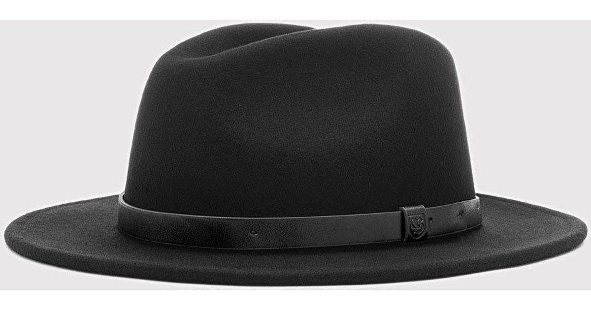 b3336f6ed3a66 ... discount brixton messer widebrim fedora hat in black for men lyst eaf90  4df31