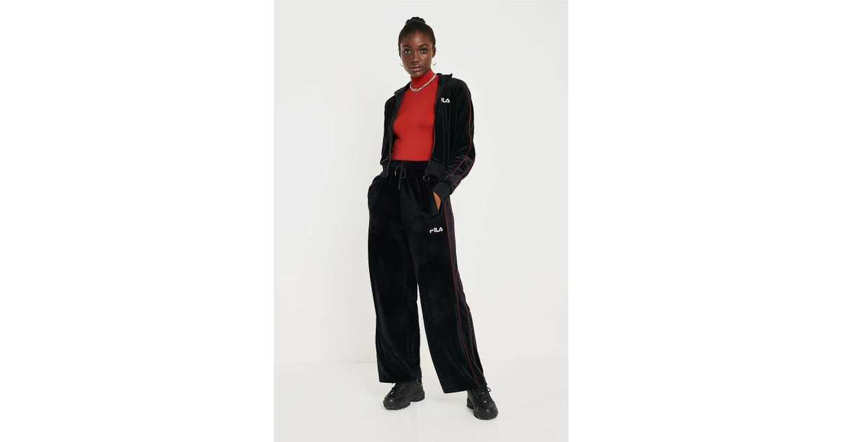 074fca8f87ce Fila Poppy Velour Wide-leg Track Pants - Womens S in Black - Lyst