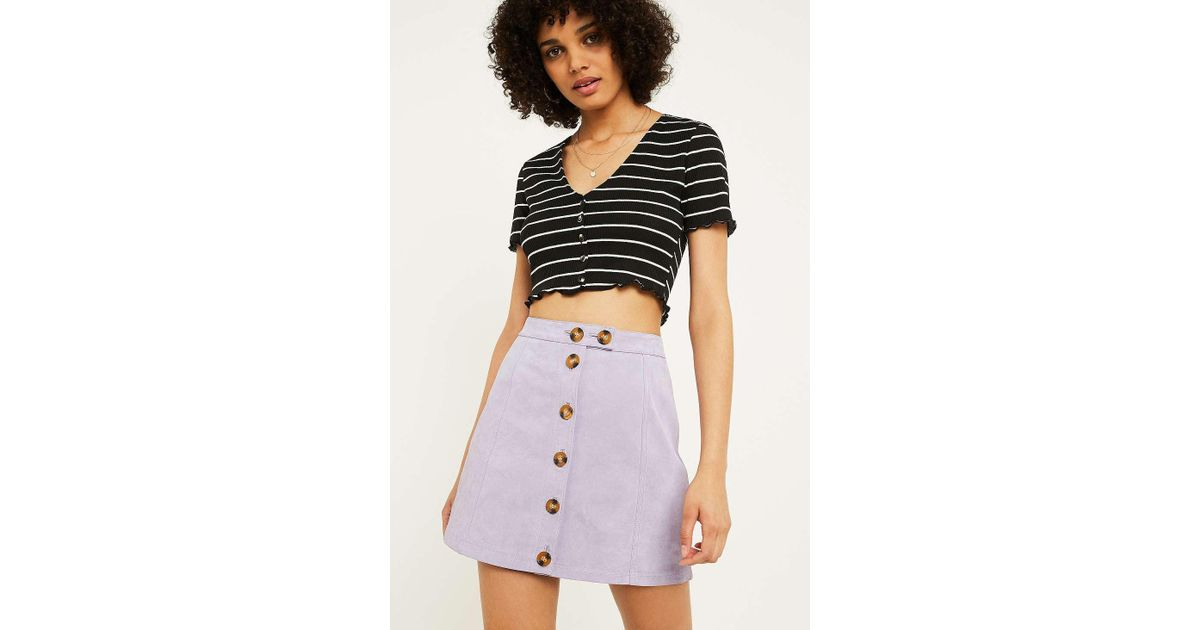 c7253015f9 Urban Outfitters Uo Lettuce Edge Stripe Button-through Crop Top - Womens Xs  in Black - Lyst
