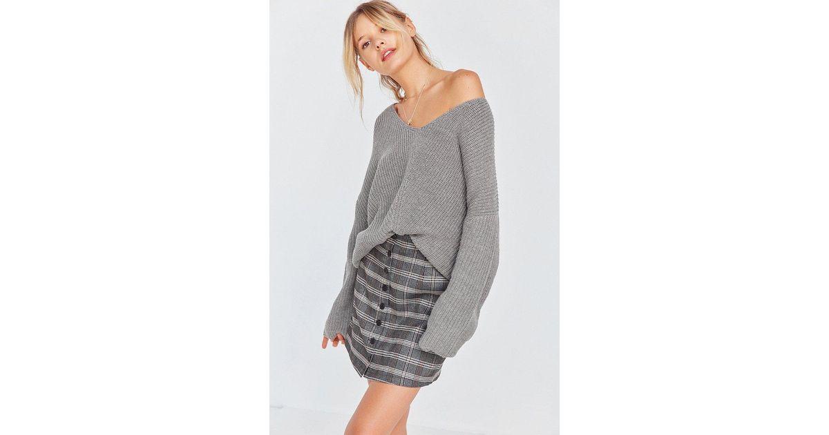 146c13476f Lyst - BDG Harper Knit High low Sweater in Gray