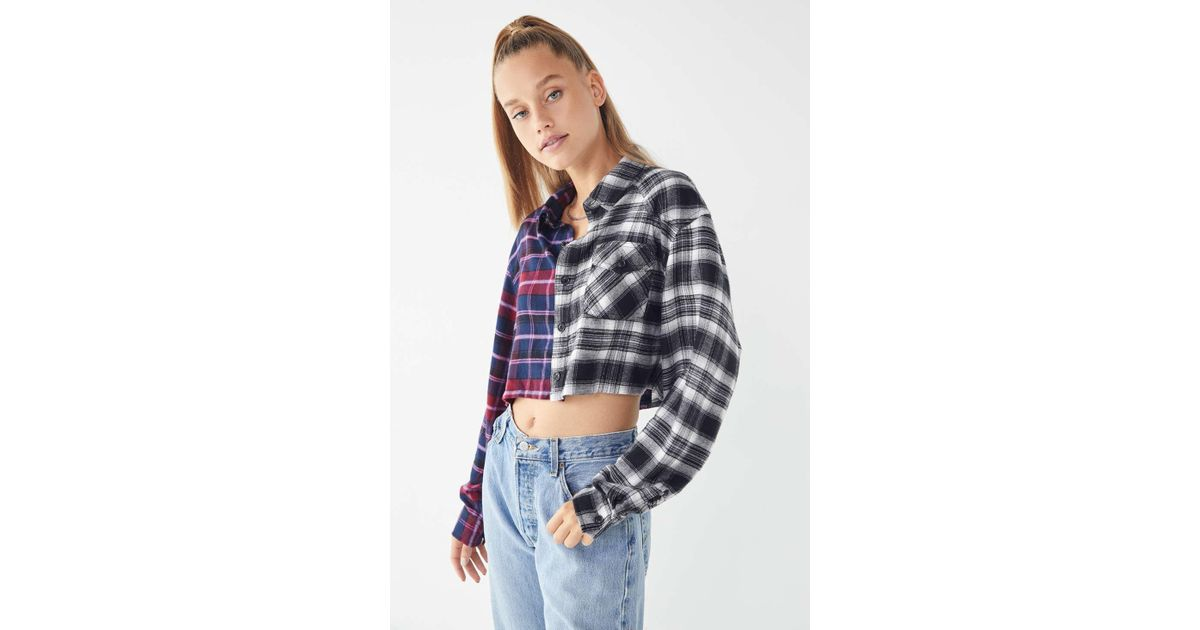 f1434077 Urban Outfitters Uo Spliced Cropped Flannel Shirt - Lyst