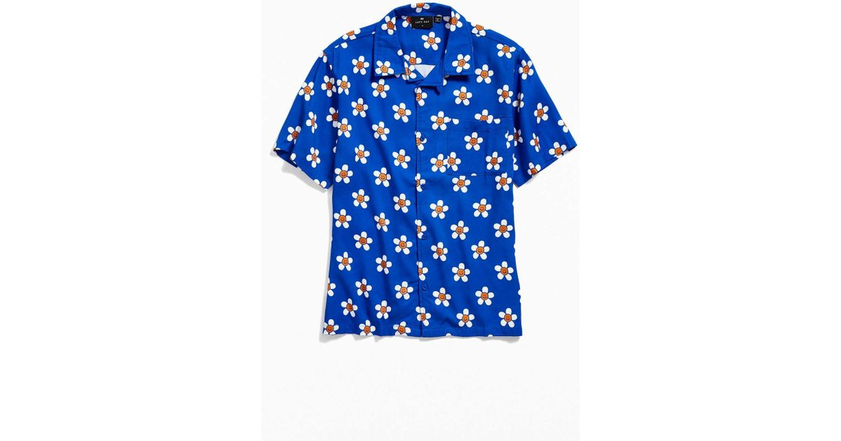 2e6d2057 Lazy Oaf Happy Flowers Blue Short-sleeve Shirt - Mens Xl in Blue for Men -  Lyst
