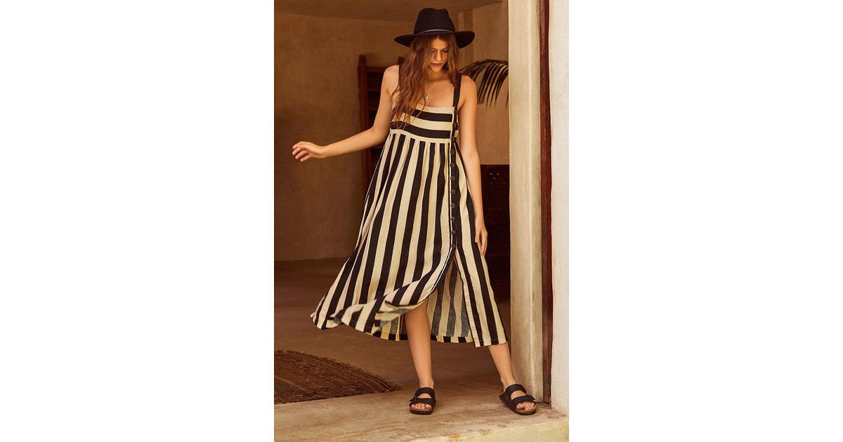 410fcbc47f Urban Outfitters Uo Deena Striped Linen Button-down Midi Dress in Black -  Lyst
