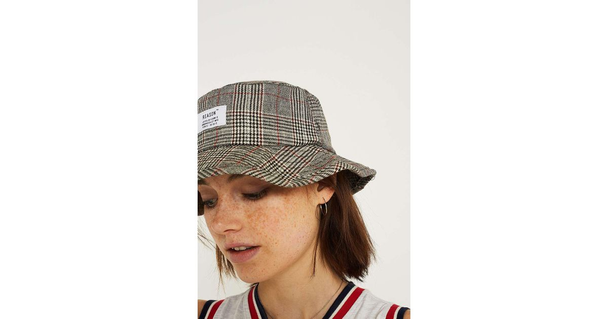 fbbd8b8d4101c Urban Outfitters Uo Reason Checked Bucket Hat - Womens All in Gray - Lyst