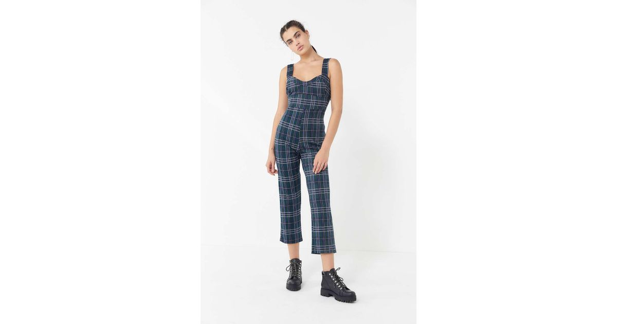 87826b952151 Lyst - Urban Outfitters Uo Rachel Plaid Jumpsuit in Blue