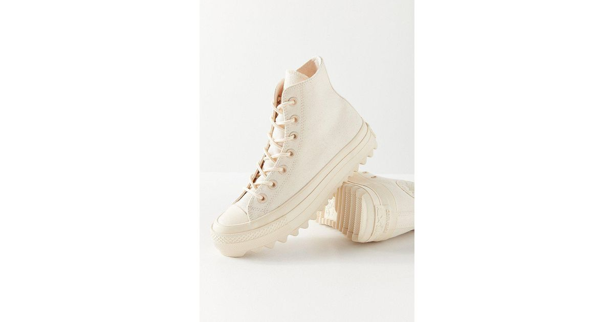73cf1c09079f Lyst - Converse Chuck Taylor All Star Lift Ripple Ivory High Top Trainers  in White