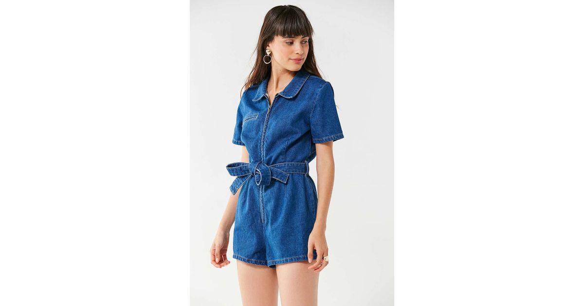 856877f9601 Lyst - Urban Outfitters Uo Hello Sunshine Denim Romper in Blue