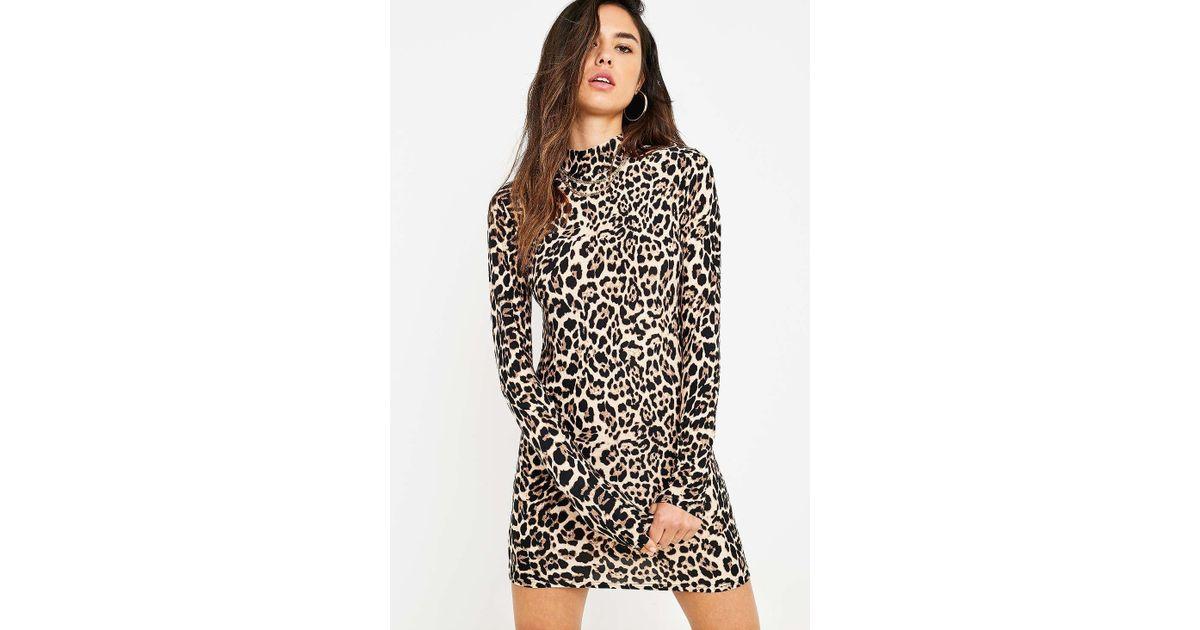 55c95a3d8bc0 Urban Renewal Remnants Leopard Print Long-sleeve Funnel Neck Dress - Womens  M in Orange - Lyst
