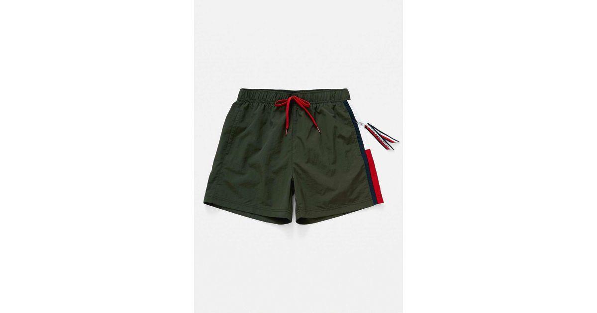 aff40d175e Tommy Hilfiger Side Flag Olive Swim Shorts in Green for Men - Lyst