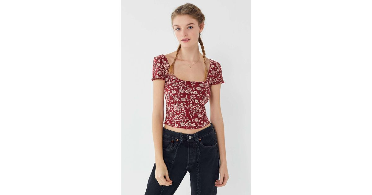df1397d2d Urban Outfitters Uo Claire Square-neck Cropped Top - Lyst