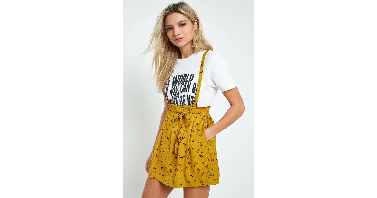 a965b8359 Urban Outfitters Uo Yellow Floral Blossom Suspender Skirt - Womens M in  Yellow - Lyst