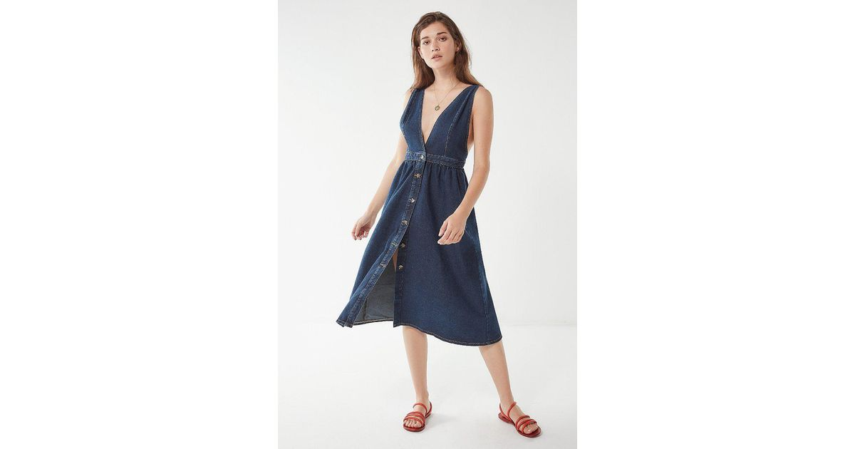 cc0bb62961 Lyst - Urban Outfitters Uo Danny Plunging Button-down Denim Midi Dress in  Blue