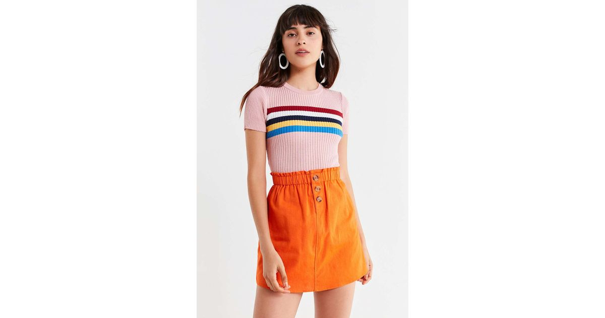 bace12f71 Urban Outfitters Uo Pari Paperbag Button-down Mini Skirt in Orange - Lyst