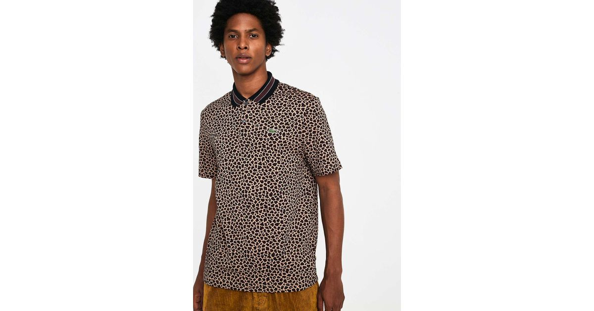 d4cb3f2a Lacoste L!ive Sand Leopard Print Polo Shirt - Mens Xs in Brown for Men -  Lyst