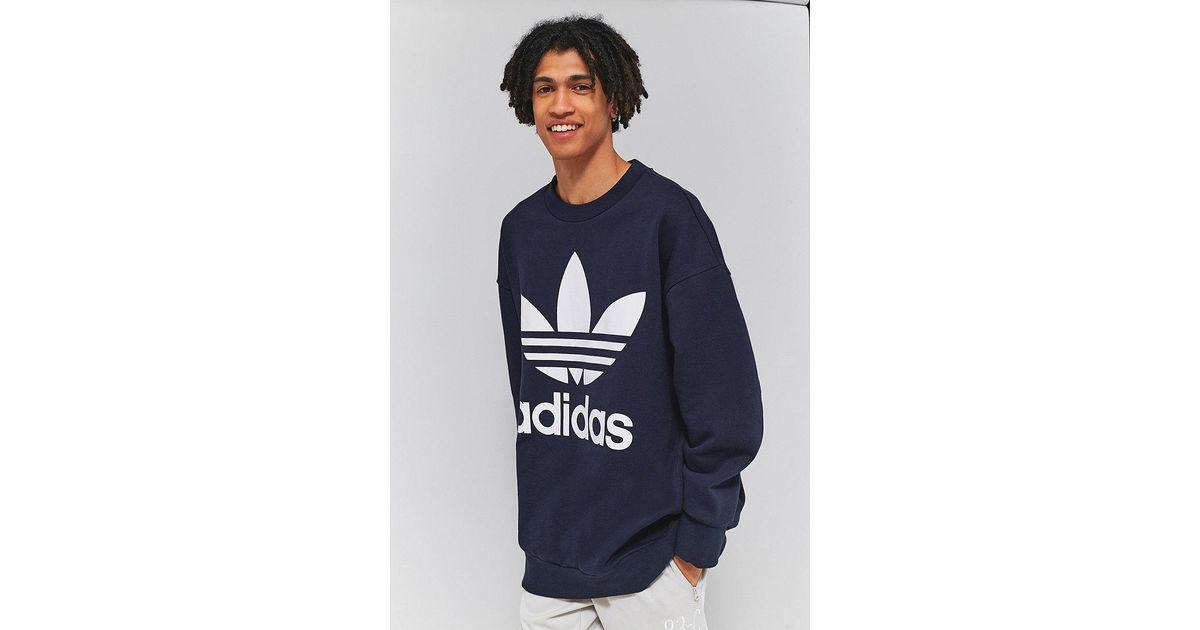 Adidas Originals Legend Ink Oversized Adicolor Crewneck Sweatshirt in Blue  for Men - Lyst 2ec219530f