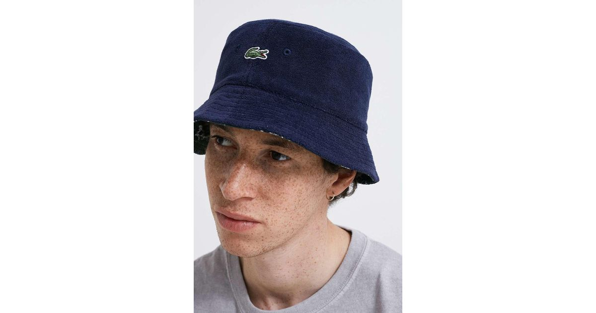 8c98514cbc0 Lacoste Reversible Bucket Hat in Blue for Men - Lyst
