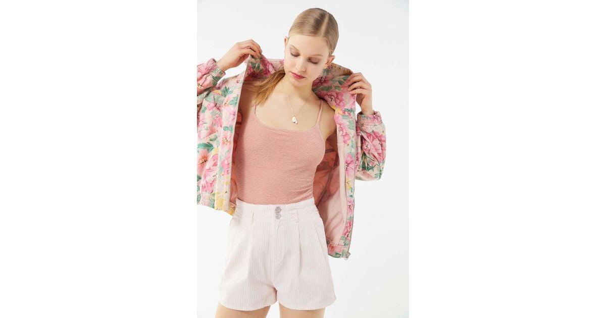 c846daa67 BDG Pink Floral Hooded Bomber Jacket