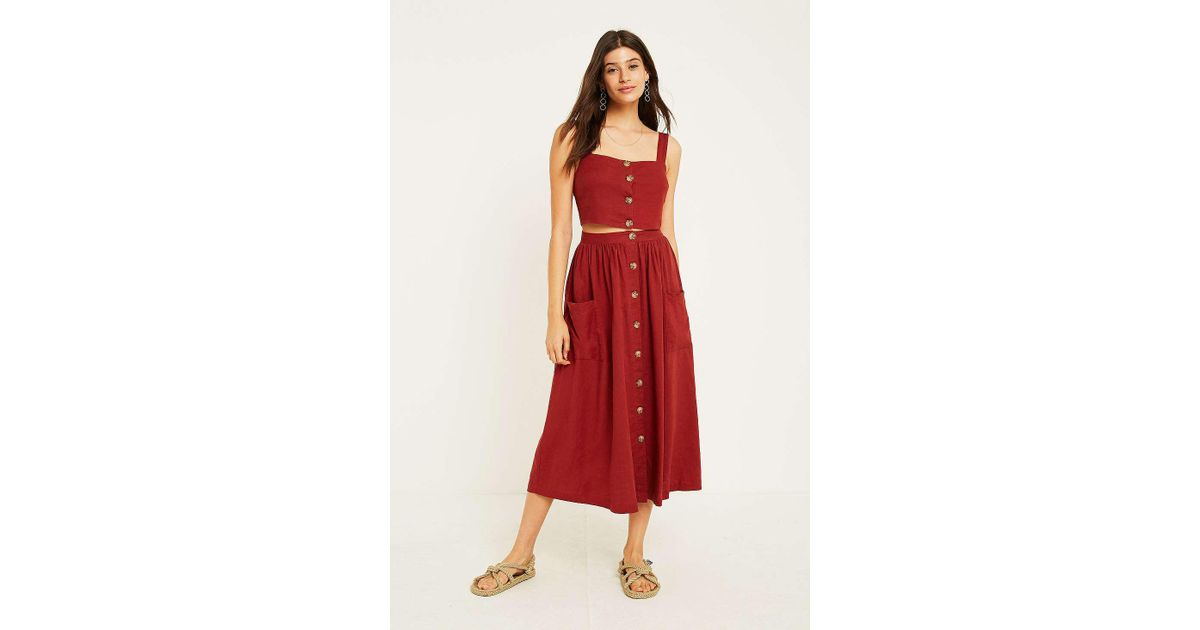 9db6935167 Urban Outfitters Uo Emilia Rust Button-through Midi Skirt - Womens L in Red  - Lyst