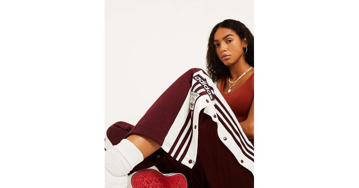 e8dba7548ffe77 adidas Originals Adibreak 3-stripe Maroon Taping Popper Track Pants -  Womens Uk 6 in Red - Lyst