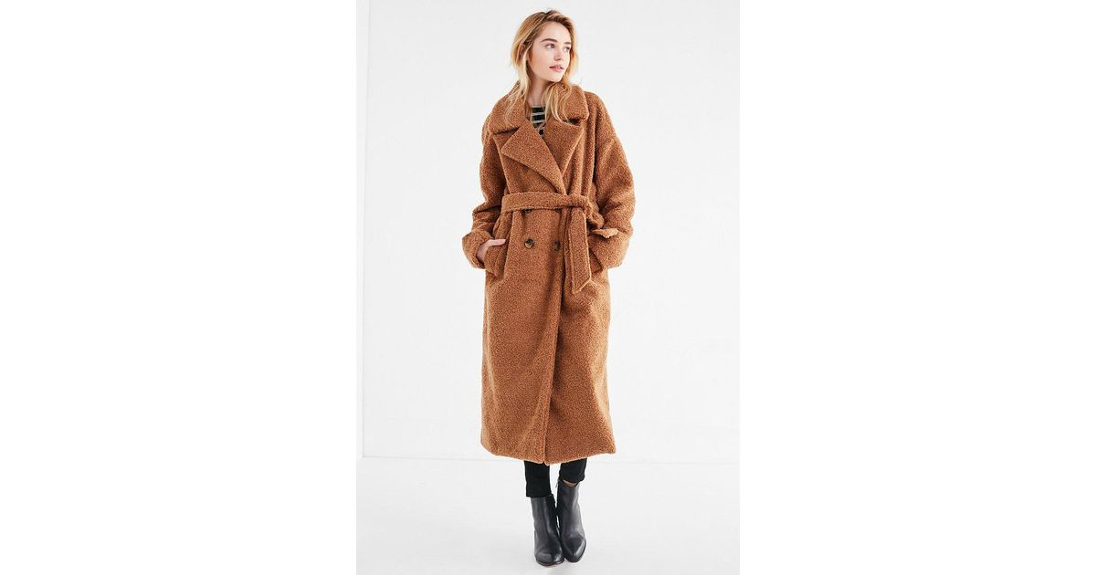 e625e0c999 Urban Outfitters Uo Eddie Double-breasted Belted Teddy Coat in Brown - Lyst