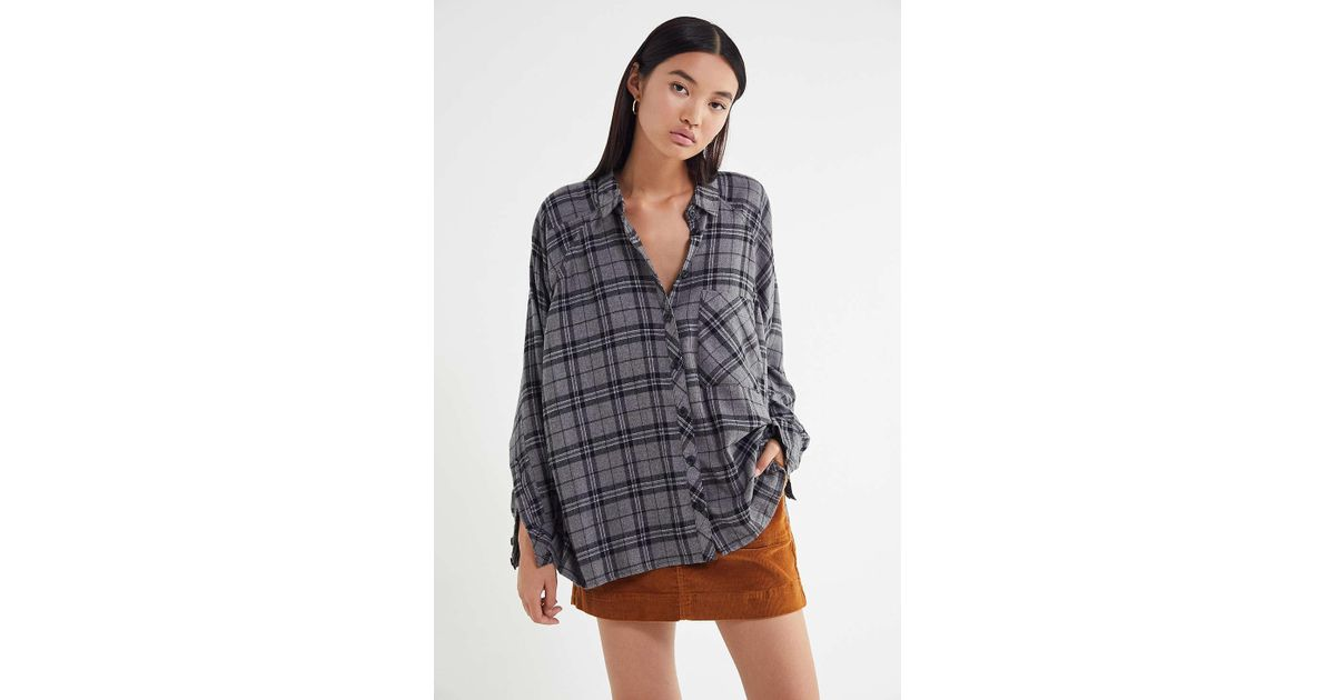 89916438 Urban Outfitters Uo Brendan Drapey Flannel Button-down Shirt in Gray - Lyst