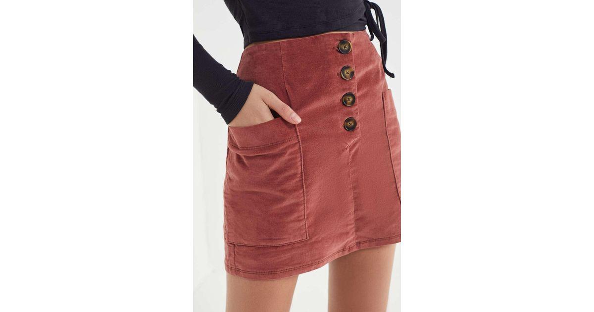 3a0b8c6e9b BDG Kendri Uncut Corduroy Mini Skirt in Red - Lyst