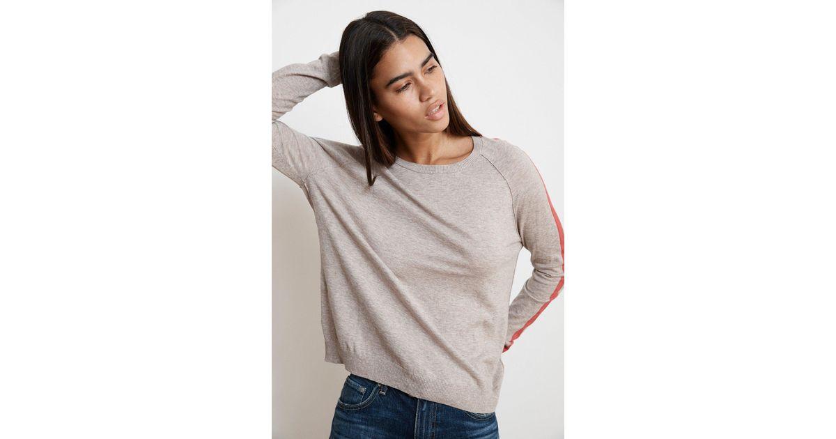 5501e5ff5c9559 Lyst - Velvet By Graham & Spencer Torie Stripe Lux Cotton Raglan Sweater