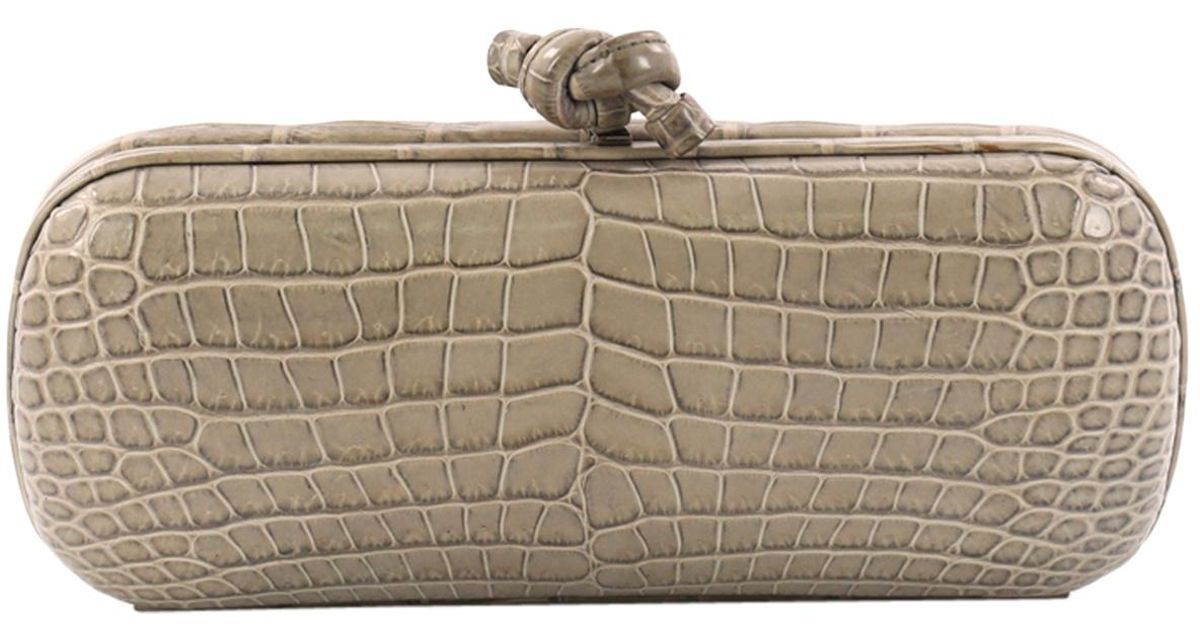 Lyst - Bottega Veneta Pre-owned Pochette Knot Crocodile Clutch Bag in Gray 8f13b42eb846c