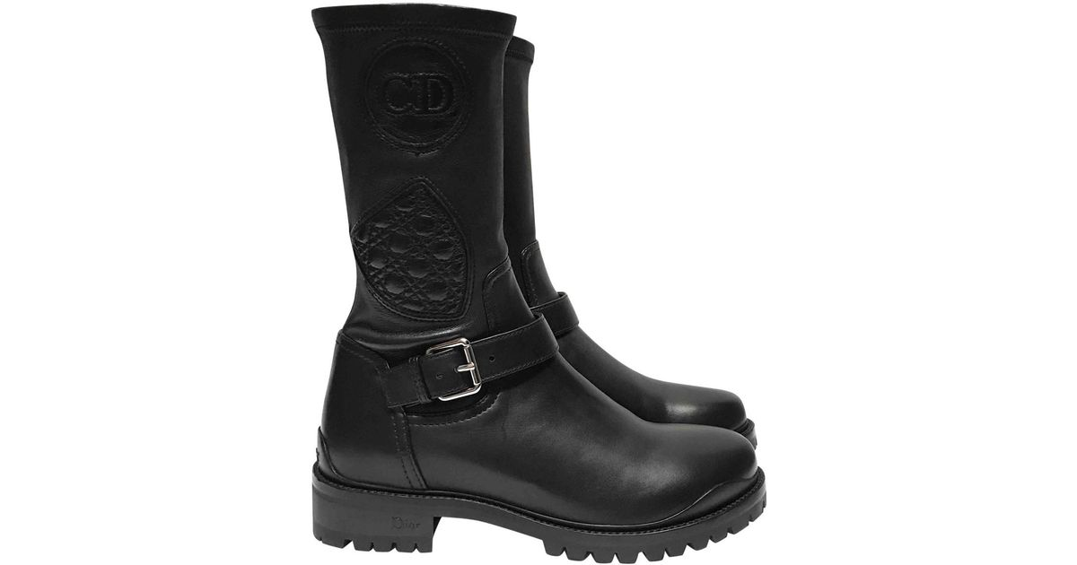 Boots Dior Owned Leather Biker Black In Lyst Pre d78pSqnxBw
