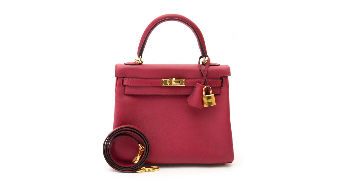 816db74a11a ... closeout lyst hermès pre owned kelly 25 leather crossbody bag in red  5e3a9 6b448