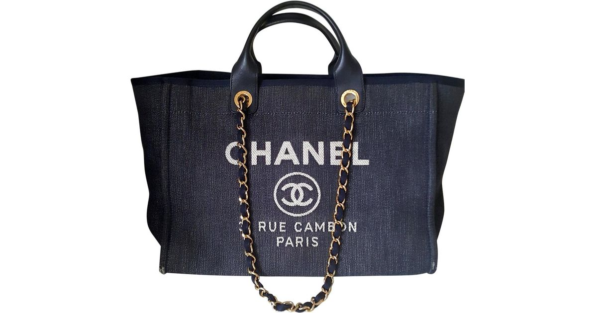 Lyst - Chanel Deauville Cloth Bag in Blue 8a2015338c49a