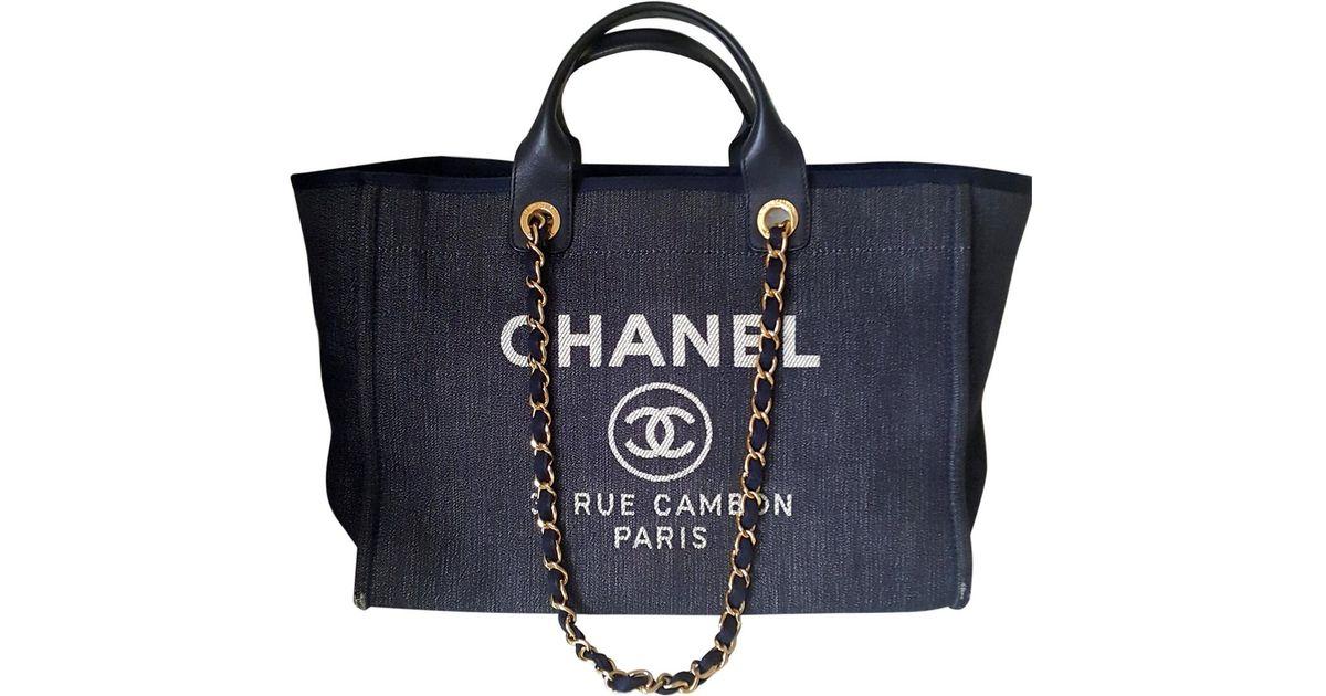 80f4978e63b4 Lyst - Chanel Deauville Cloth Bag in Blue