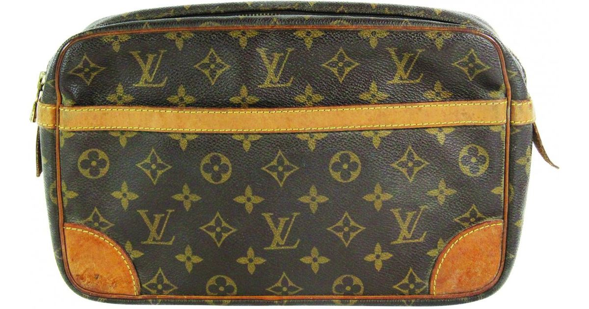 89796ec83a00 Lyst - Louis Vuitton Pre-owned Vintage Brown Cloth Clutch Bags in Brown