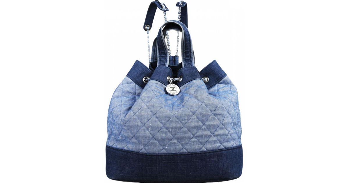 095820c73 Lyst - Chanel Pre-owned Médaillon Blue Denim - Jeans Backpacks in Blue