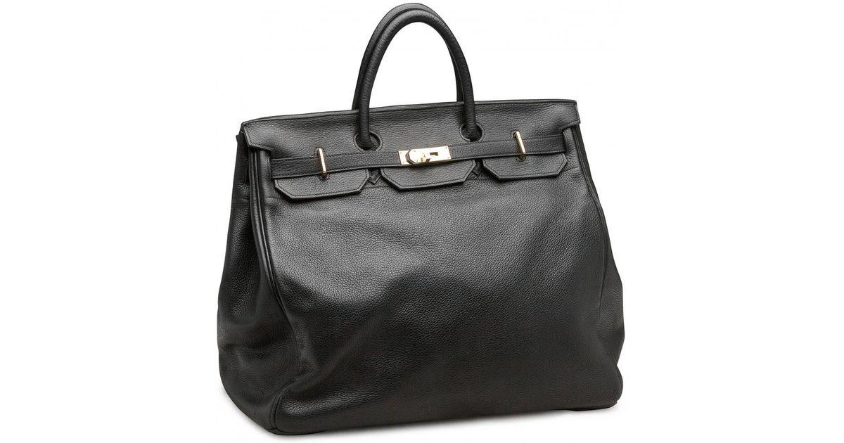 581b05b3d59 Lyst - Hermès Pre-owned Haut À Courroies Leather Travel Bag in Black