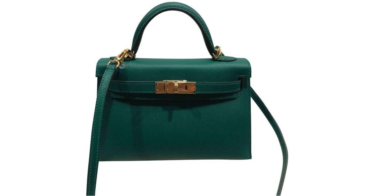 d9541e14ee34 Hermès Pre-owned Kelly Mini Leather Mini Bag in Green - Lyst