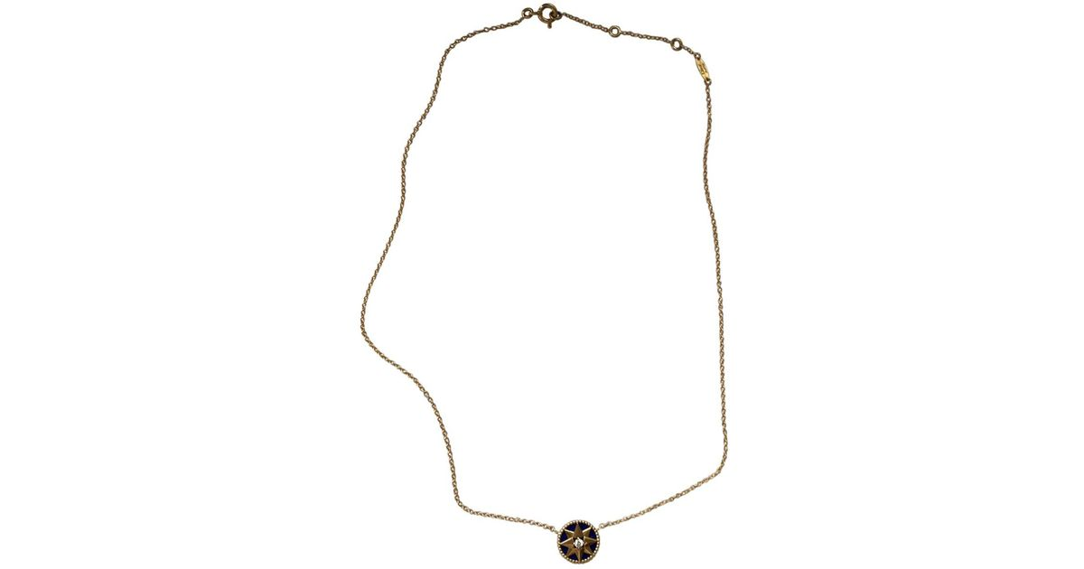 Lyst Dior Rose Des Vents Yellow Gold Necklace In Metallic