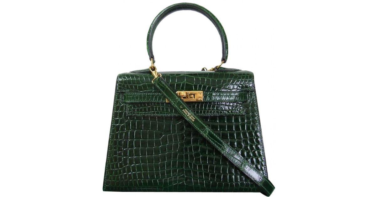 8166bce40a Lyst - Hermès Pre-owned Kelly Mini Crocodile Handbag in Green