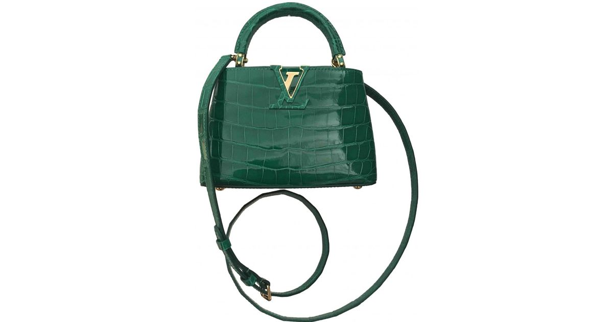 2715b544b170 Louis Vuitton Capucine Crocodile Handbag in Green - Lyst