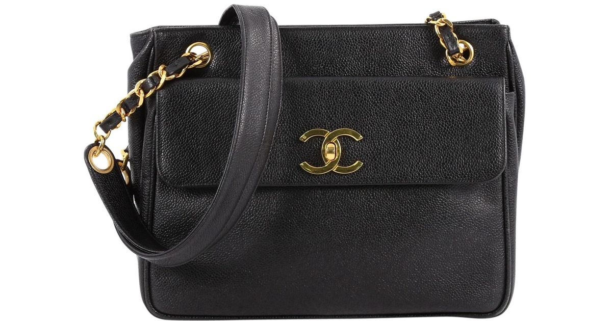 01f792a54757b8 Chanel Leather Handbag in Black - Lyst