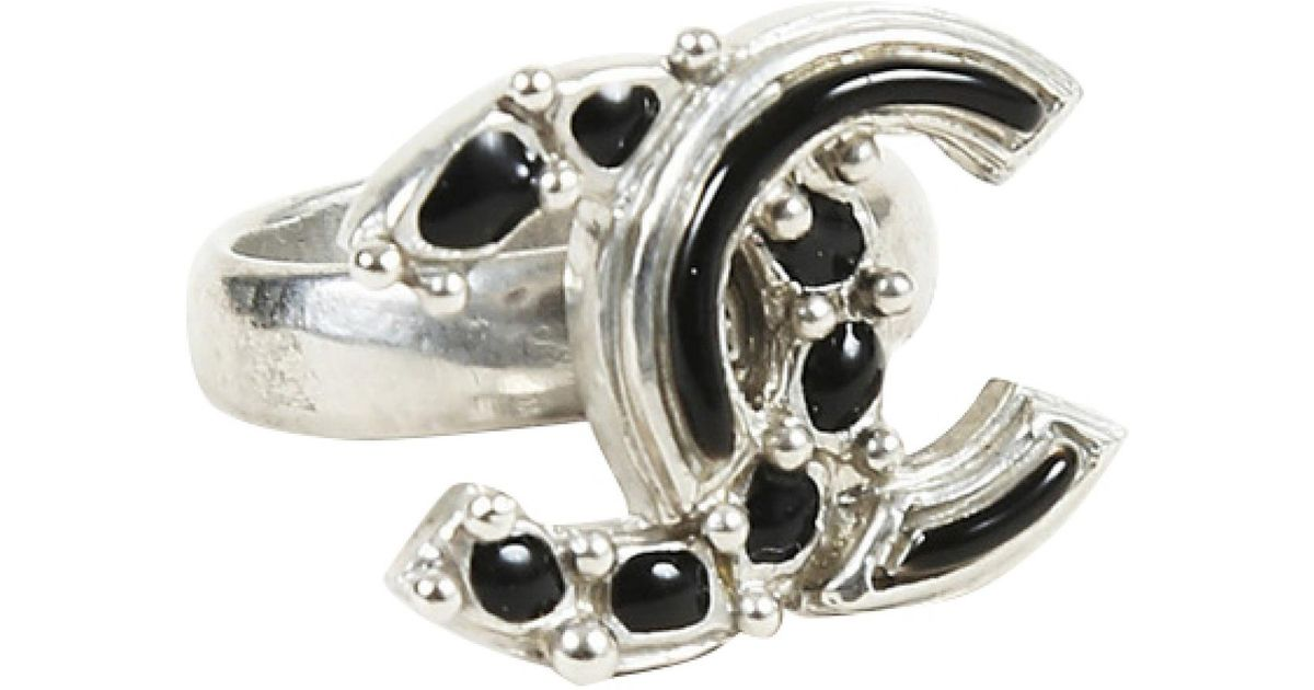 11fac2bf Lyst - Chanel Black Silver Plated Ring in Black