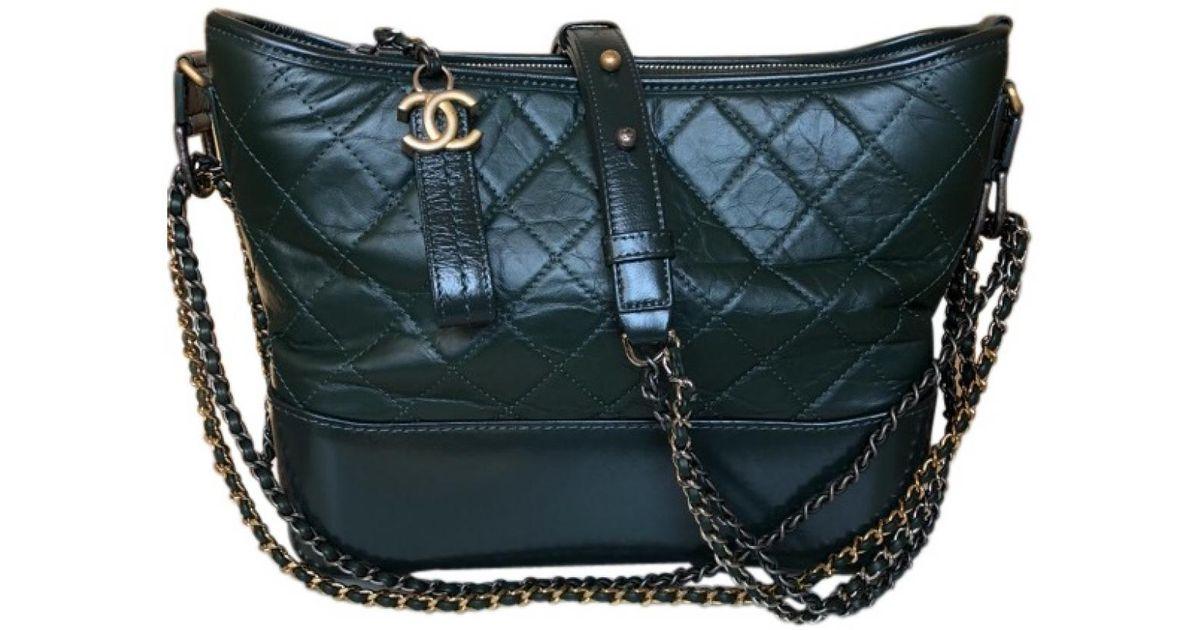 4d31321b6fe4 Chanel Gabrielle Green Leather Handbag in Green - Lyst