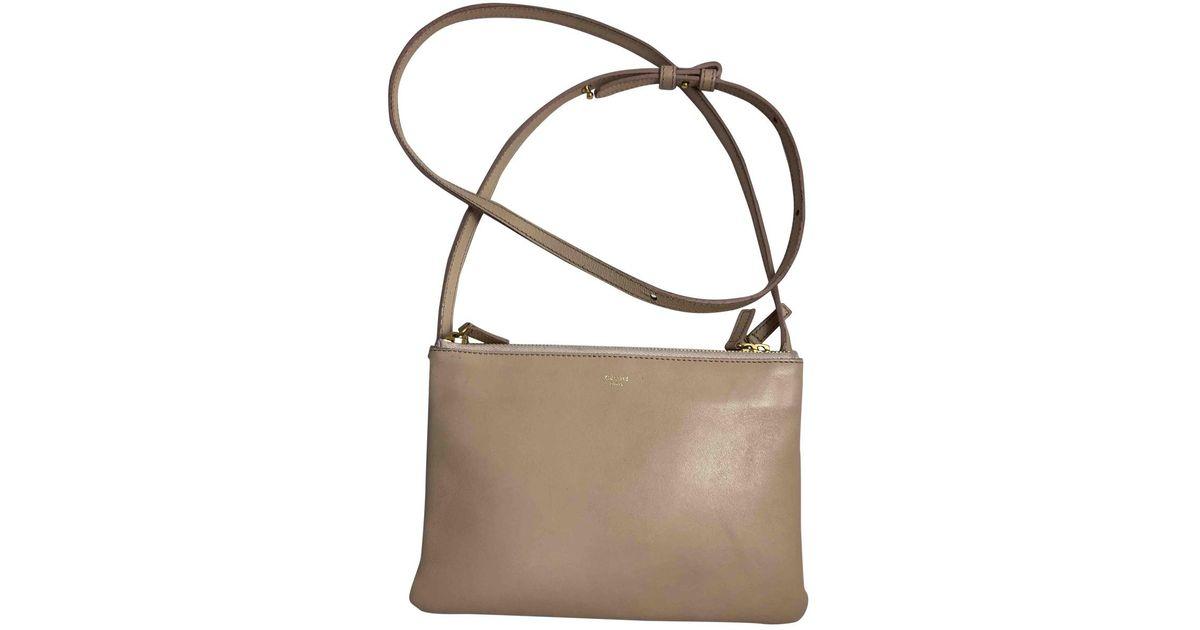 Céline Trio Leather Clutch Bag in Natural - Lyst 21ba9ddf489a7