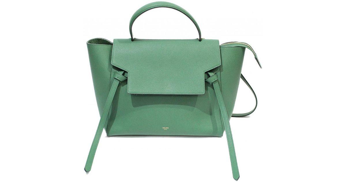 Céline Belt Leather Handbag in Green - Lyst 6417f3a978e89