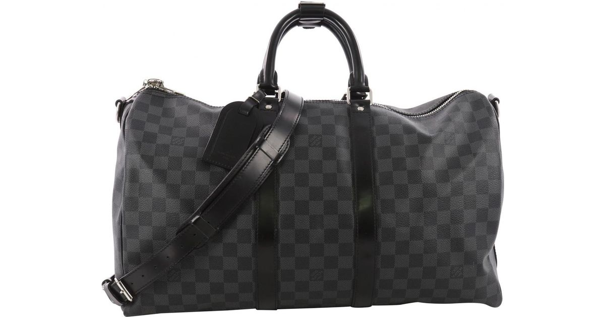 Lyst - Louis Vuitton Pre-owned Keepall Cloth Weekend Bag in Gray for Men 95ed1be6fd550