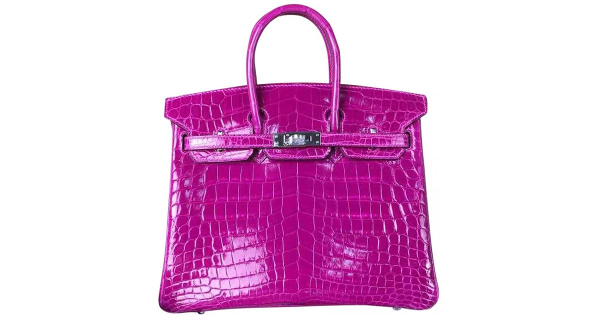 ... wholesale hermès birkin 25 crocodile handbag in pink lyst 0ca87 029c3  ... 289fa3e80f2f5